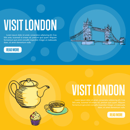english famous: Visit London touristic banners. Tower bridge, kettle, cup of tea and cake hand drawn vector illustrations on color backgrounds. English famous national symbols. For travel company landing page design