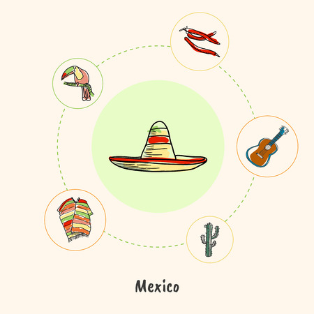 poncho: Attractive Mexico. Sombrero colored doodle surrounded guitar, chilli peppers, toucan, poncho, cactus hand drawn vector icons. Mexican cultural, culinary, nature symbols. Travel in Latin America