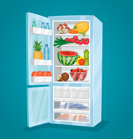 rape: Refrigerator full of food. Opened fridge filled with fresh fruits and vegetables vector illustration on blue background. Vegetarian meals. Saving freshness of products. Healthy nutrition concept