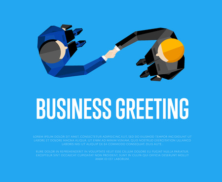overhead view: Business greeting, vector illustration. Top view of two businessmen shaking hands to confirm their partnership. Business people meeting concept on blue background. Union banner Illustration