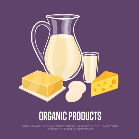 food products: Organic products banner with dairy assortment composition on perpl background, vector illustration. Nutritious and healthy products. Organic farming. Natural and healthy food. Illustration