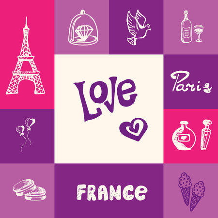Paris checkered concept in romantic colors. Eiffel tower, heart balloons, ice cream, diamond ring, bottle of wine, flying dove, perfumes hand drawn vector icons. France related doodle symbols and text Illustration