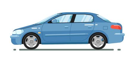 Sedán cómodo azul aislado en el ejemplo blanco del vector del fondo. Automóvil moderno. Vista lateral del citycar familiar. Transporte de personas en estilo plano. Elemento de diseño para sus proyectos