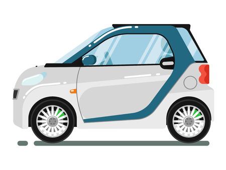 Compact smart coupé blanc isolé sur fond blanc illustration vectorielle. Petit citycar éco compact. transport populaire dans le style plat. élément de design pour vos projets Vecteurs