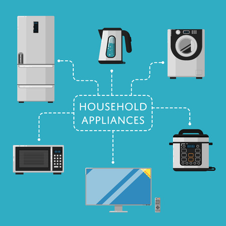 technics: Household appliances banner with electro technics vector illustration. TV cinema, refrigerator, washing machine, microwave oven, electric kettle, multicooker machine. Kitchen equipment in flat design Illustration