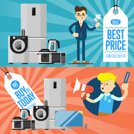 technics: Best prise and buy today flyers with household appliances vector illustration. Sale tag, discount symbol, retail sticker. Advertisement campaign on kitchen electro technics. Dealer with megaphone