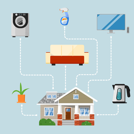 home renovation: Home improvement concept with household appliances, new furniture and design elements. Home renovation vector illustration. Buying new vacation home. House remodeling. Creating comfort and coziness