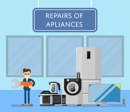 technics: Repairs of appliances banner with mechanic and household electro technics vector illustration. Repairman with huge wrench. TV cinema, refrigerator, washing machine, microwave oven, kettle, etc.