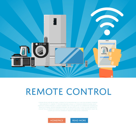 appliances: Remote control for household appliances concept. Smart home automation system, smart house control panel on mobile device. Internet of things banner. Iot comfort. Smartphone remote control. Illustration