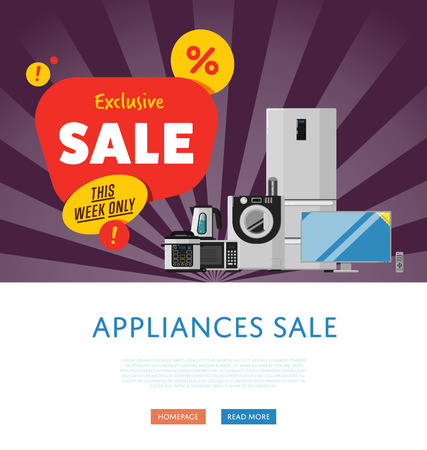 technics: Household appliances discount season sale banner vector illustration. Sale tag, discount symbol, retail sticker. Advertisement campaign on kitchen electro technics. Exclusive offer. Special price