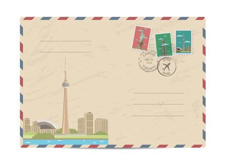 tv tower: TV tower of Toronto, Canada. Vintage postal envelope with famous architectural composition, postage stamps and postmarks on white background vector illustration. Airmail postal services. Illustration
