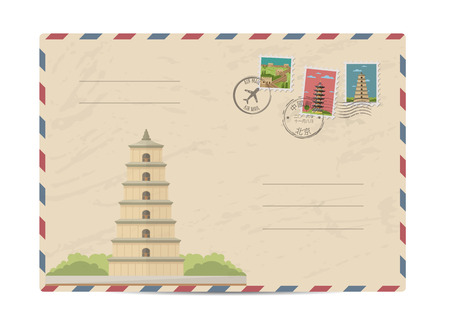 postmarks: China vintage postal envelope with postage stamps and postmarks on white background, isolated vector illustration. Chinese ancient pagoda. Air mail stamp. Postal services. Envelope delivery. Illustration