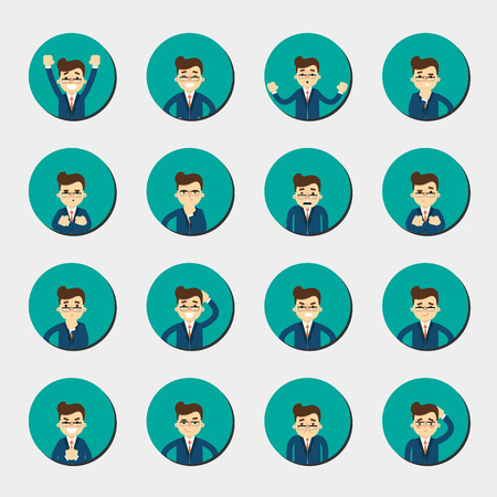 ashamed: Cartoon man in various poses and facial expressions. People emotional round icons isolated on white background, vector illustration. Collection of female avatars faces. Different emotions icon set.