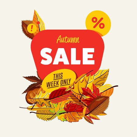 Autumn sale design template, vector illustration. This week only banner with colorful leaves on white background. Advertisement about autumnal discount. Business event concept. Flayer design for shop Illustration