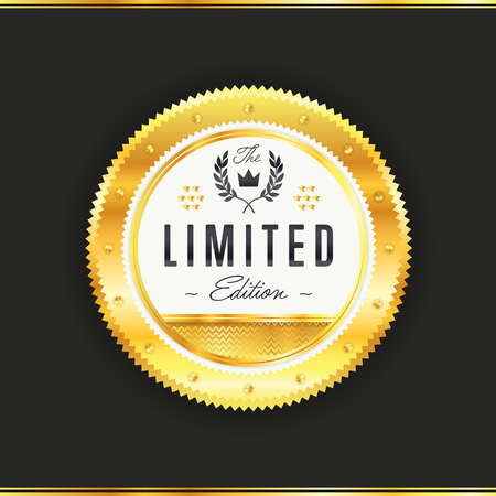 Gold metal badge vintage style isolated vector illustration