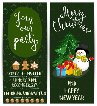 merry mood: Invitation on Christmas party with date and time. Cute snowman, wrapped gifts, gingerbread cookies, toys cartoon vectors. Merry Christmas and happy New Year greetings. Xmas holiday fun celebrating