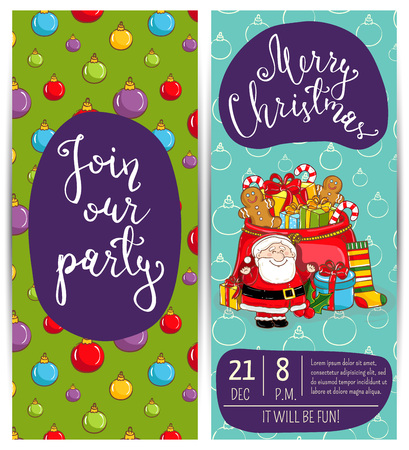 santa sack: Invitation on Christmas party with date and time. Cheerful Santa, sack with gifts, sweet snacks, sock, holly, toys cartoon vectors. Merry Christmas and happy New Year greetings. Xmas fun celebrating