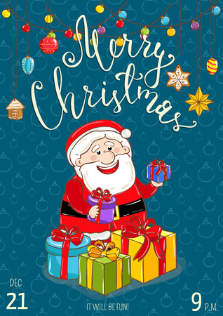 merry time: Christmas party promo poster with date and time. Cheerful Santa with wrapped presents, garland cartoon vector on blue background. Merry christmas and happy New Year greetings. Xmas fun celebrating