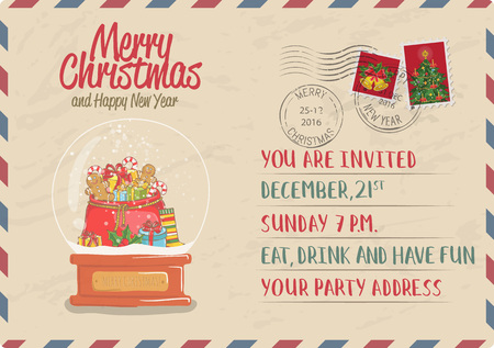 snowdome: Vintage Christmas Postcard with stamps. Snow globe with sack of gifts, sweets, toy, sock, holly cartoon vector. Holiday party Invitation. Merry Christmas and Happy New Year greeting card. Xmas letter Illustration