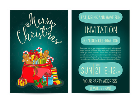 merry time: Invitation on Christmas party with date and time. Large Santasack with gifts, sweets, sock, holly, toys cartoon vectors. Merry Christmas and happy New Year greetings. Xmas holiday fun celebrating Illustration