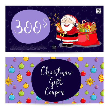 prepaid card: Christmas gift voucher template. Gift coupon with Xmas attributes and prepaid sum. Santa, gifts, christmas tree, gingerbread cookie cartoon vectors. Merry Christmas and Happy New Year greeting card