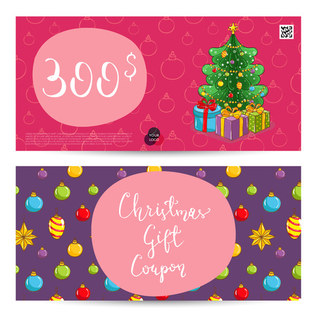 prepaid card: Christmas gift voucher template. Gift coupon with Xmas attributes and prepaid sum. Wrapped gifts, christmas tree toys cartoon vectors. Merry Christmas and Happy New Year greeting card