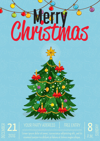 Christmas party promo poster with date, time. Beautifully decorated with toys, garlands, candles Christmas tree vector on blue background. Merry Christmas, happy New Year greetings. Xmas celebrating