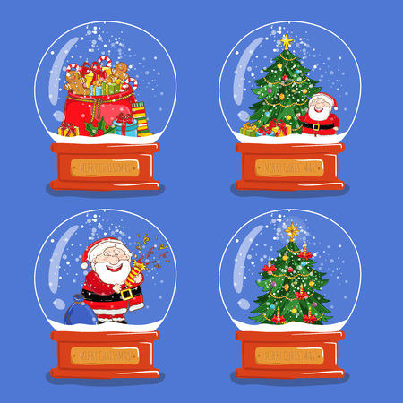snowdome: Christmas snow globes. Santa, sack with gifts, Christmas tree cartoon vectors. Glass souvenir with Xmas attributes and characters. Merry Christmas and Happy New Year concepts set isolated on blue
