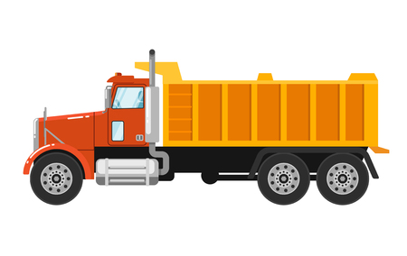 construction vehicle: Big yellow tipper truck isolated on white background vector illustration. Modern dump truck side view. Vehicle for cargo transportation. Design element for your projects. Construction machinery