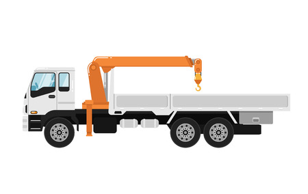 Commercial truck mounted crane isolated on white background vector illustration. Modern mobile hydraulic crane side view. Vehicle for cargo transportation service. Design element for your projects Ilustrace