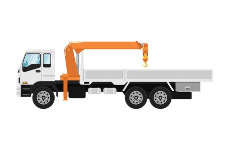 Reklamy ciężarówka wspinający się żuraw odizolowywający na białej tło wektoru ilustraci. Widok z boku nowoczesny mobilny dźwig hydrauliczny. Pojazd służący do przewozu ładunków. Element projektu dla twoich projektów