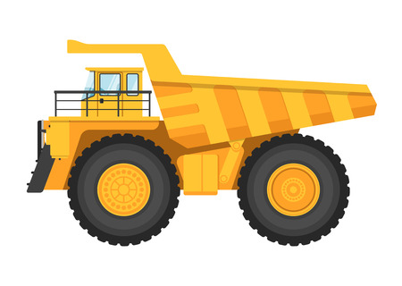 Big and heavy mining truck isolated on white background vector illustration. Modern dump truck side view. Vehicle for cargo transportation service. Design element for your projects. Mining industry Illustration