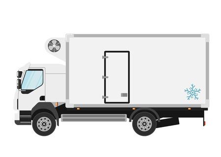 camion frigo commerciale isolato su sfondo bianco illustrazione vettoriale. Moderna camion camion vista laterale. Veicoli per il trasporto merci. Autotrasporti e servizio di consegna. elemento di design Vettoriali