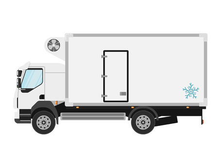 refrigerated: Commercial refrigerated truck isolated on white background vector illustration. Modern lorry truck side view. Vehicle for cargo transportation. Trucking and delivery service. Design element