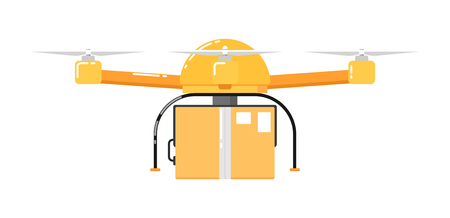 Drone aircraft isolated on white background. Drone technology with remotely controlled flying robot vector illustration. Multicopter with delivery. Unmanned aerial vehicle. Flying device.