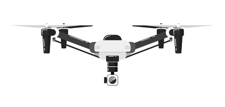 Drone aircraft in flat design isolated on white background. Drone technology with remotely controlled flying robot vector illustration. Multicopter with camera. Unmanned aerial vehicle. Flying device