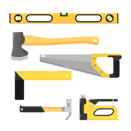 building tools isolated on white background vector illustration hammer saw axe stapler - Home Building Tools