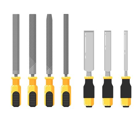rasp: Building tools isolated on white background vector illustration. Chisels and files in flat design. Hand tools for carpentry and home renovation. DIY collection. Construction equipment. Illustration