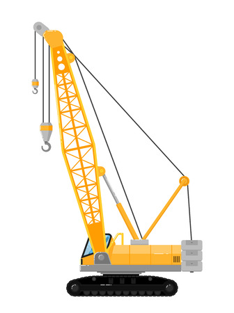 Yellow crawler crane isolated on white background vector illustration. Construction machine in flat design. Building equipment. Lifting boom crane. Commercial vehicle.