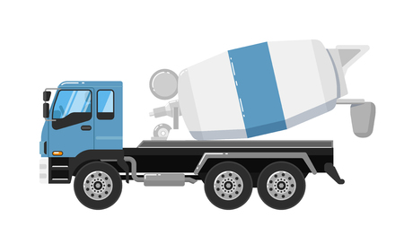 roadwork: Concrete mixer truck isolated on white background vector illustration. Construction machine in flat design. Cement mixer. Cargo truck. Building equipment. Commercial vehicle. Illustration