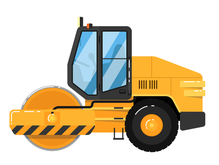 roadwork: Yellow road roller isolated on white background vector illustration. Road construction machine in flat design. Auto steamroller. Building equipment. Commercial vehicle. Illustration