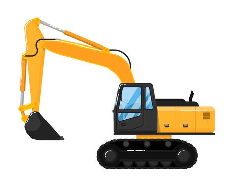 roadwork: Yellow crawler excavator isolated on white background vector illustration. Construction digger machine in flat design. Backhoe loader. Building equipment. Commercial vehicle.