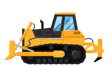 Yellow crawler bulldozer isolated on white background vector illustration. Construction digger machine in flat design. Modern dozer. Building equipment. Commercial vehicle.
