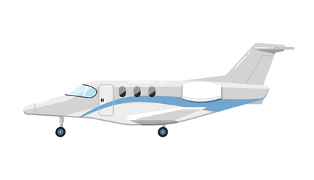 jetliner: Side view of airplane isolated on white background vector illustration. Business aircraft. Passenger and freight transportation. Private aircraft jet aviation. Modern airliner. Flat design style.