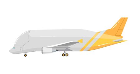 jetliner: Side view of airplane isolated on white background vector illustration. Business aircraft. Passenger and freight transportation. Aircraft jet aviation. Modern airliner. Flat design style.