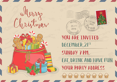 santa sack: Vintage Christmas Postcard with postal stamps. Large Santa sack of gifts, sweets, sock, holly cartoon vector. Holiday party invitation. Merry Christmas and Happy New Year greeting card. Xmas letter Illustration