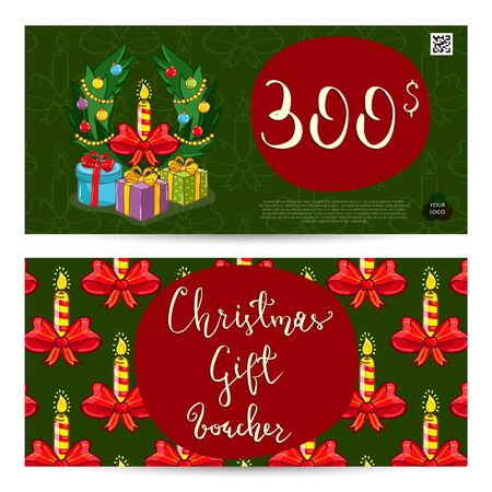 prepaid card: Christmas gift voucher template. Gift coupon with Xmas attributes and prepaid sum. Cute snowman, wrapped gifts, christmas tree toys cartoon vectors. Merry Christmas and Happy New Year greeting card Illustration