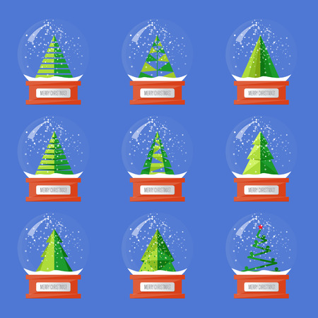 snowdome: Christmas snow globes. Variety forms Christmas trees abstract vectors. Glass souvenir with Xmas attributes and characters. Merry Christmas and Happy New Year concepts set isolated on blue