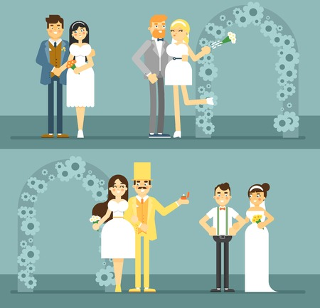 newlywed: Wedding couple vector illustration. Happy bride and groom couple set in flat design. Wedding invitation card template. Retro wedding characters, just married, newlywed couple, young lovers. Illustration