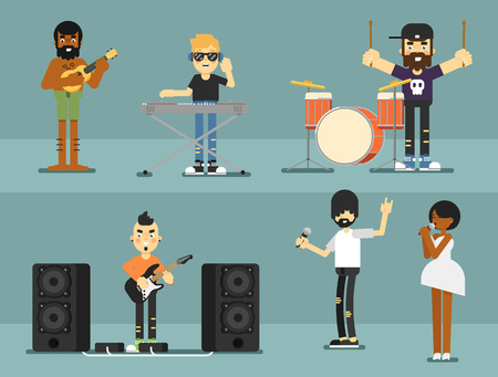 solo: Rock band music group with musicians concept of artistic people vector illustration. Singer, guitarist, drummer, solo guitarist, bassist, keyboardist characters performs on stage. Rock star.